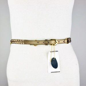 Trina Turk Brown Bronze Chain Braided Double Belt